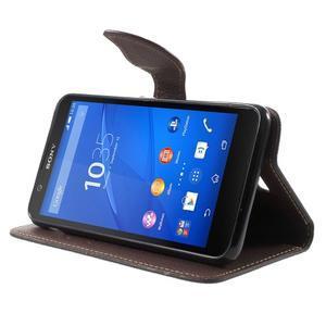 PU kožené lístkové pouzdro pro Sony Xperia E4 - černé - 3