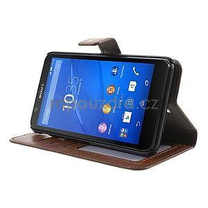 PU kožené peňaženkové puzdro pre mobil Sony Xperia E4 - hnedé - 3
