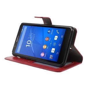 PU kožené peňaženkové puzdro pre mobil Sony Xperia E4 - červené - 3