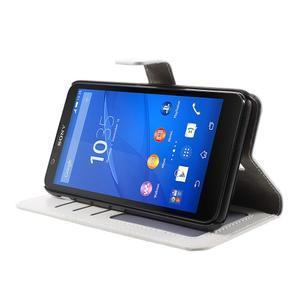 PU kožené peňaženkové puzdro pre mobil Sony Xperia E4 - biele - 3