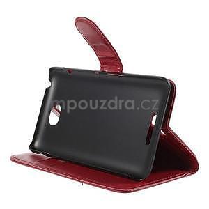 Peňaženkové PU kožené puzdro pre Sony Experia E4 - červené - 3