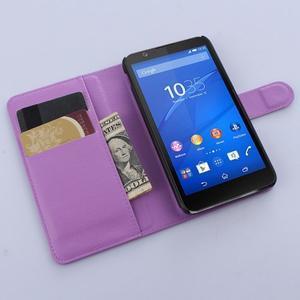 PU kožené Peňaženkové puzdro pre mobil Sony Xperia E4 - fialové - 3
