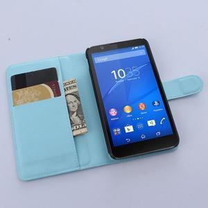 PU kožené Peňaženkové puzdro pre mobil Sony Xperia E4 - svetlomodré - 3