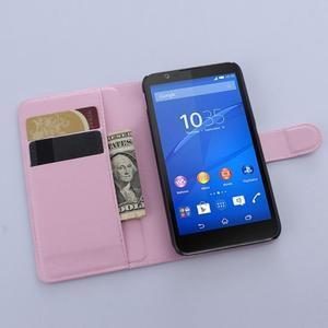 PU kožené Peňaženkové puzdro pre mobil Sony Xperia E4 - ružové - 3