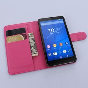 PU kožené Peňaženkové puzdro pre mobil Sony Xperia E4 - rose - 3