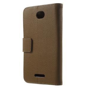 PU kožené Peňaženkové puzdro pre Sony Xperia E4 - hnedé - 3