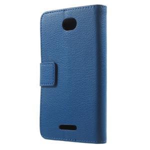PU kožené peněženkové pouzdro na Sony Xperia E4 - modré - 3