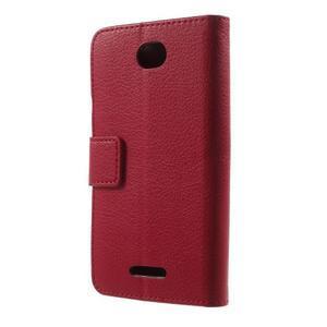 PU kožené Peňaženkové puzdro pre Sony Xperia E4 - červené - 3