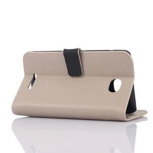 PU kožené PU Peňaženkové puzdro pre Sony Xperia E4 - béžové - 3