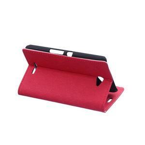 Vzorované peňaženkové puzdro pre Sony Xperia E4 - červené - 3