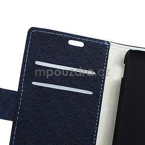 Vzorované peňaženkové puzdro pre Sony Xperia E4 - tmavomodré - 3