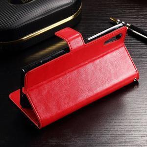 Francis PU kožené Peňaženkové puzdro pre Sony Xperia XZ - červené - 3