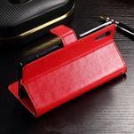 Francis PU kožené Peňaženkové puzdro pre Sony Xperia XZ - červené - 3/3