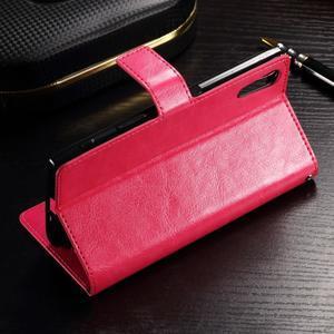 Francis PU kožené Peňaženkové puzdro pre Sony Xperia XZ - rose - 3