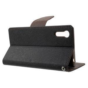 Diary PU kožené puzdro pre mobil Sony Xperia XZ - čierne/hnedé - 3
