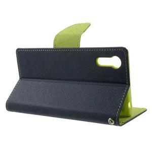Diary PU kožené puzdro pre mobil Sony Xperia XZ - tmavomodré/zelené - 3