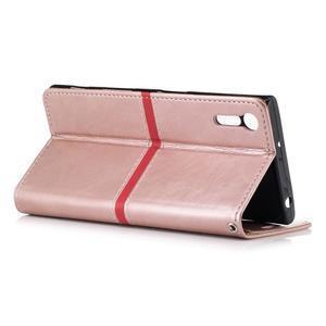 Standy PU kožené peňaženkové puzdro pre Sony Xperia XZ - ružovozlaté - 3