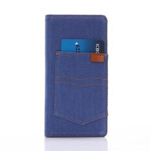 Jeans PU kožené puzdro pre mobil Sony Xperia XZ - modré - 3