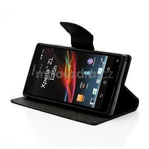 Peňaženkové PU kožené puzdro pre Sony Xperia Z - čierne - 3