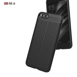 Litchi odolný obal s texturovaným zadným dielom na mobil Xiaomi Mi6 - čierny - 3