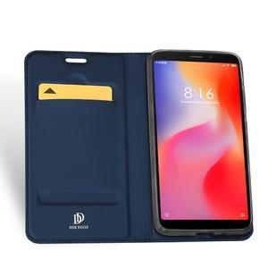 DUX PU kožené flipové puzdro na mobil Xiaomi Redmi 6A - modré - 3