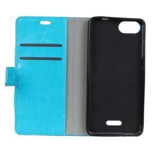 Horse PU kožené peňaženkové puzdro na mobil Xiaomi Redmi 6A - modré - 3