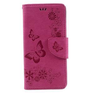 Butterfly PU kožené puzdro na Sony Xperia E5 - rose - 3