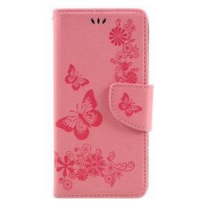 Butterfly PU kožené puzdro pre Sony Xperia E5 - ružové - 3