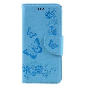 Butterfly PU kožené puzdro na Sony Xperia E5 - světledmodré - 3