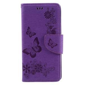 Butterfly PU kožené puzdro na Sony Xperia E5 - fialové - 3
