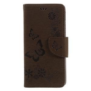 Butterfly PU kožené puzdro na Sony Xperia E5 - hnědé - 3