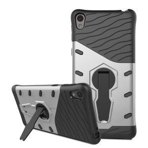 Armory odolný obal so stojanom na Sony Xperia E5 - strieborný - 3