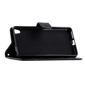 motýľikové PU kožené puzdro pre mobil Sony Xperia E5 - čierne - 3