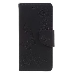 Butterfly PU kožené puzdro na Sony Xperia E5 - čierne - 3