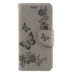 Butterfly PU kožené puzdro na Sony Xperia E5 - šedé - 3