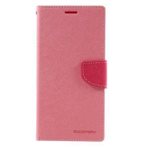 Diary PU kožené puzdro pre mobil Sony Xperia XA Ultra - ružové - 3