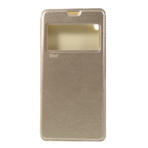Richi PU kožené puzdro s okienkom na Sony Xperia XA Ultra - zlaté - 3