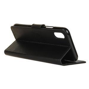 Litchi PU kožené peněženkové puzdro na Sony Xperia L3 - čierne - 3