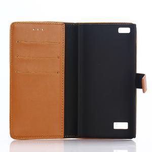 PU kožené peňaženkové puzdro pre BlackBerry Leap - hnedé - 3