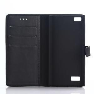 PU kožené peňaženkové puzdro pre BlackBerry Leap - čierne - 3