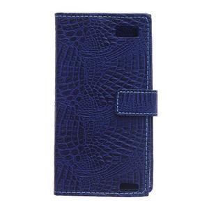 Croco style peňaženkové puzdro pre BlackBerry Leap - tmavomodré - 3