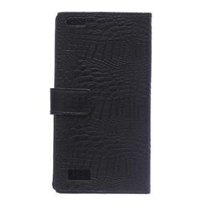 Croco style peňaženkové puzdro pre BlackBerry Leap - čierne - 3