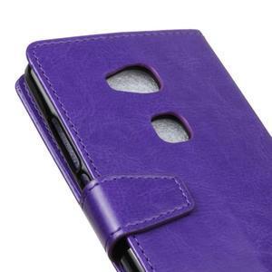 Horse Peňaženkové koženkové puzdro pre Huawei Honor 5X - fialové - 3