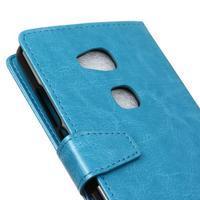 Horse peněženkové koženkové pouzdro na Huawei Honor 5X - modré - 3/7