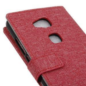 Textilné/koženkové puzdro pre Honor 5X - červené - 3
