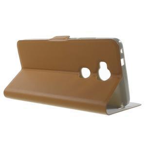 Peňaženkové PU kožené puzdro pre mobil Honor 5X - hnedé - 3