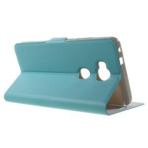 Peňaženkové PU kožené puzdro pre mobil Honor 5X - modré - 3