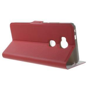 Peňaženkové PU kožené puzdro pre mobil Honor 5X - červené - 3