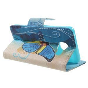 Peňaženkové puzdro na mobil Samsung Galaxy A3 (2016) - modrý motýl - 3