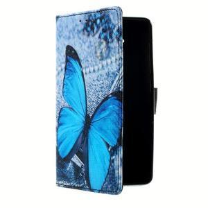 Peňaženkové puzdro na mobil Lenovo A536 - modrý motýl - 3